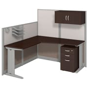 "Bush Business Office in an Hour Collection 65""W x 65""D L -Shaped Workstation with Storage and Accessory Kit-Installed"