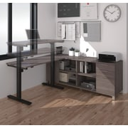 Pro-Linea L-Desk with Electric Height Adjustable Table, Bark Grey, (120857-47)