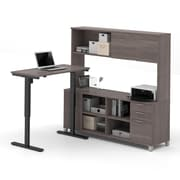Pro-Linea L-Desk with Hutch, Electric Height Adjustable Table, Bark Grey, (120858-47)