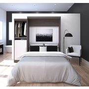 """Nebula by Bestar 90"""" Queen Wall Bed Kit, Bark Grey & White, (25880-4717)"""