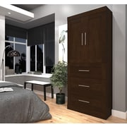 """Pur by Bestar 36"""" Storage Unit With 3-Drawer Set And Doors, Chocolate, (26878-69)"""