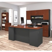 Manhattan U-Shaped Workstation With Lateral File And Bookcase, Bordeaux & Graphite, (81850-39)