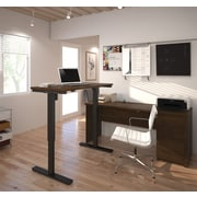 Bestar Prestige + L-Desk, Electric Height Adjustable Table, Chocolate (99885-69)