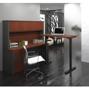 Bestar Prestige + L-Desk with Hutch, Electric Height Adjustable Table, Bordeaux & Graphite (99886-39)
