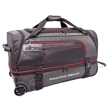 Pacific Gear 30'' Drop-Bottom Rolling Duffel Bag; Black