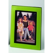 Budd Leather Lizard Print Picture Frame; Lime Green