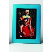 Budd Leather Lizard Print Picture Frame; Blue
