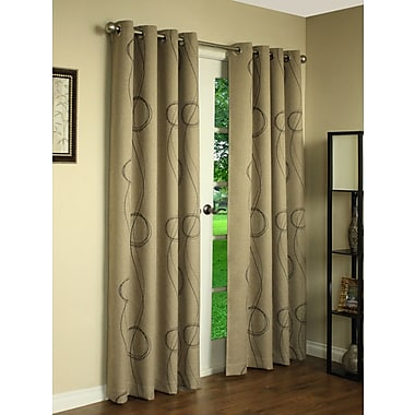 Thermalogic Brooke Printed Blackout Thermal Single Curtain Panel; Beige