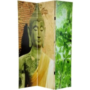 Oriental Furniture 71'' x 47.25'' Draped Buddha Double Sided 3 Panel Room Divider