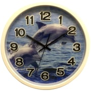 Creative Motion 12'' Clock w/ Dolphin Design w/ 3D Hologram Clock Face