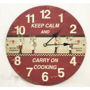 Creative Motion 13.38'' Keep Calm and Carry on Cooking Clock