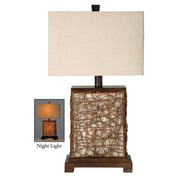 Style Craft Canvas Enclosed Night Light 27'' H Table Lamp with Rectangular Shade