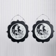 Adams & Co 2 Piece Witch In/Out Double Sided Sign Set