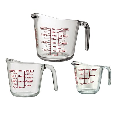Anchor Hocking 3 Piece Open Handle Measuring Cup Set WYF078279107342