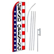 NeoPlex Grand Opening Stars and Stripes Swooper Flag and Flagpole Set