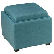 Cortesi Home Mavi Tray Top Storage Ottoman; Teal