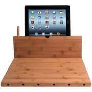 CTA Digital Bamboo Cutting Board with Stand for iPad and Knife Storage
