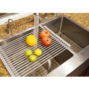 LuxorWare Roll-up Folding Drying Rack Colander Built-in Hook and Loop Fastening Rack Tie; Grey