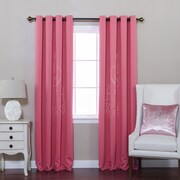 Best Home Fashion, Inc. Chandelier Punch Out Room Darkening Curtain Panels (Set of 2); Pink