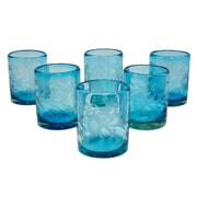 Novica Engraved Pepita Flowers on Hand Blown Rock Shot Glass (Set of 6)