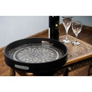 Novica Andean Lotus Tooled Leather Serving Tray