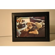 Budd Leather Lizard Leather Picture Frame; Black