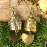 Novica Brass Bell Ornament Crafted by Hand (Set of 2)