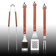 New Star Foodservice 4 Piece Solid Hard Wood Handle Barbecue Tool Set