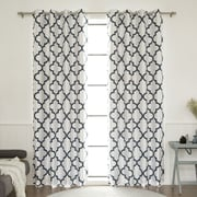 Best Home Fashion, Inc. Moroccan Tile Faux Silk Blackout Single Curtain Panel; Navy