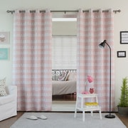 Best Home Fashion, Inc. Doodle Print Grommet Top Room Darkening Curtain Panels (Set of 2); Pink