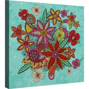 LauralHome Boho Floral - Turquoise by Carlos Merrier Graphic Art on Canvas