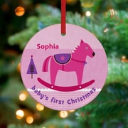 GreenBox Art Baby's First Rocking Horse Personalized Ornament by Carmen Mok; Pink