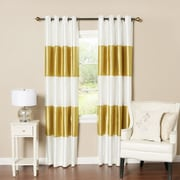 Best Home Fashion, Inc. Striped Faux Silk Blackout Curtain Panel (Set of 2); Gold