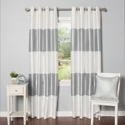 Best Home Fashion, Inc. Striped Faux Silk Blackout Curtain Panel (Set of 2); Grey