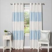 Best Home Fashion, Inc. Striped Faux Silk Blackout Curtain Panel (Set of 2); Light Blue