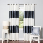 Best Home Fashion, Inc. Striped Faux Silk Blackout Curtain Panel (Set of 2); Navy