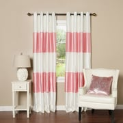 Best Home Fashion, Inc. Striped Faux Silk Blackout Curtain Panel (Set of 2); Pink