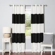 Best Home Fashion, Inc. Striped Faux Silk Blackout Curtain Panel (Set of 2); Black