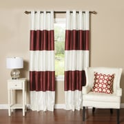 Best Home Fashion, Inc. Striped Faux Silk Blackout Curtain Panel (Set of 2); Burgundy