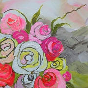 GreenBox Art 'Spring Floral II' by Shelly Kennedy Painting Print on Canvas; 21 inch H x 21 inch W