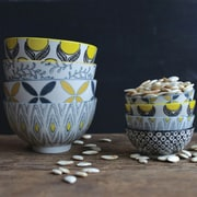 Creative Co-Op Mix & Match Patterned Stoneware Bowls (Set of 4)