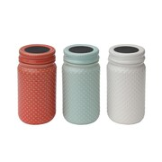 Creative Co-Op Gatherings 3-Piece Stoneware Jar Set (Set of 3)