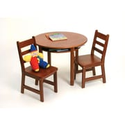 "Lipper 29 3/8 "" Round Wooden Child's Table w/shelf & 2 chairs-Cherry (524C)"