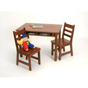 "Lipper23.25"" Rectangular Wooden Child's Table w/shelves & 2 Chairs-Cherry Finish (534C)"