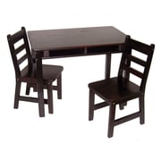 "Lipper 23.25"" Rectangular Wooden Child's Table w/shelves & 2 Chairs-Espresso  Finish (534E)"