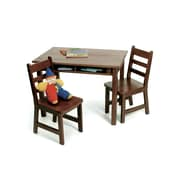 "Lipper 23.25"" Rectangular Wooden Child's Table w/shelves & 2 Chairs-Walnut Finish (534WN)"