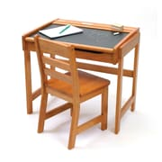 Lipper Child's  Desk w/Chalkboard Top & Chair - Pecan (554P)