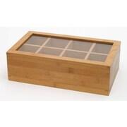 Lipper Bamboo Tea Box-8 Compartment w/Acrylic & Bamboo Lid   Removeable/Adj. Dividers (8189)