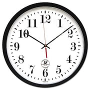 Chicago Lighthouse For The Blind  Atomic Slimline Contemporary Clock, 16-1/2'', Black (AZERTY19685)