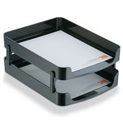 Officemate International  2200 Series Front-Loading Plastic Letter Desk Tray, Two Tiers - Black (AZTY10571)